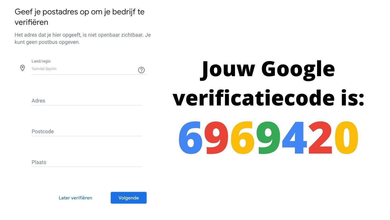 google mijn bedrijf verificatiecode